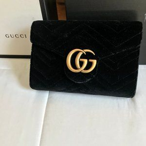Gucci Marmont on Chain in Velvet